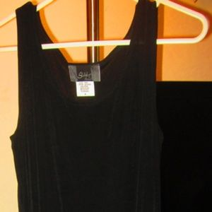 "Black slinky dress small 38"" long"
